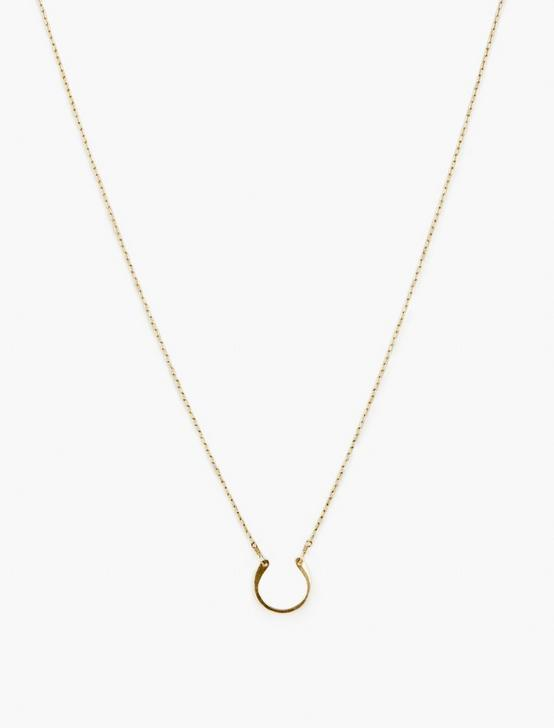 Britta Ambauen Horseshoe Charm Necklace, GOLD, productTileDesktop