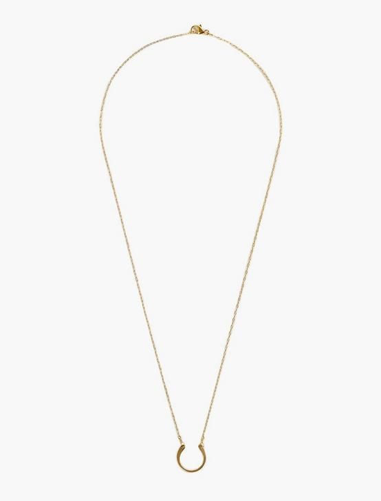 Britta Ambauen Horseshoe Charm Necklace, GOLD, productTileDesktop