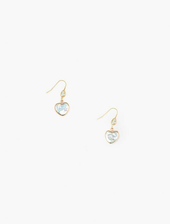 GOLD HEART DROP EARRINGS, GOLD, productTileDesktop