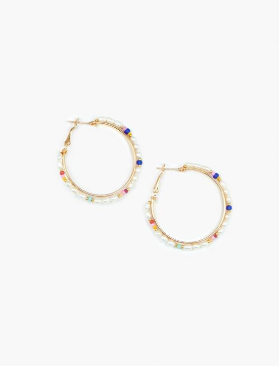 PEARL RAINBOW HOOP EARRING, GOLD, productTileDesktop