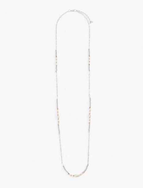 CHAIN PEARL NECKLACE, TWO TONE