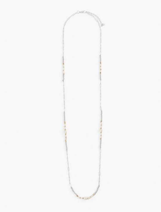 CHAIN PEARL NECKLACE, TWO TONE, productTileDesktop