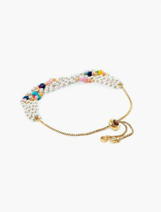PEARL RAINBOW BEAD LAYERED BRACELET, GOLD, productTileDesktop