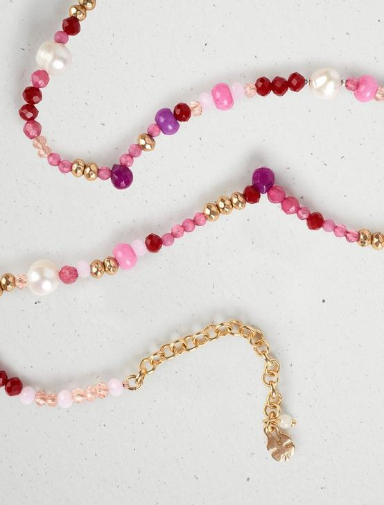 PINK MULTI BEADED COLLAR NECKLACE, GOLD, productTileDesktop