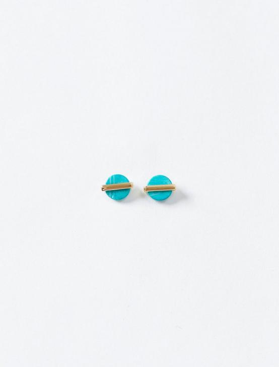 TURQUOISE WRAP STUD EARRING, GOLD, productTileDesktop
