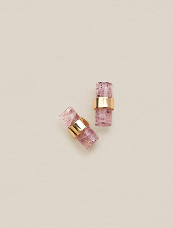 PINK DYED QUARTZ STUDS, GOLD, productTileDesktop