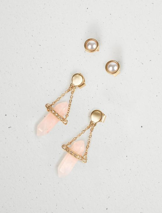 PEARL AND CRYSTAL STUD EARRING SET, GOLD, productTileDesktop