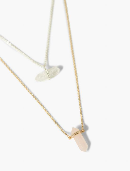 CRYSTAL LAYER NECKLACE, TWO TONE, productTileDesktop