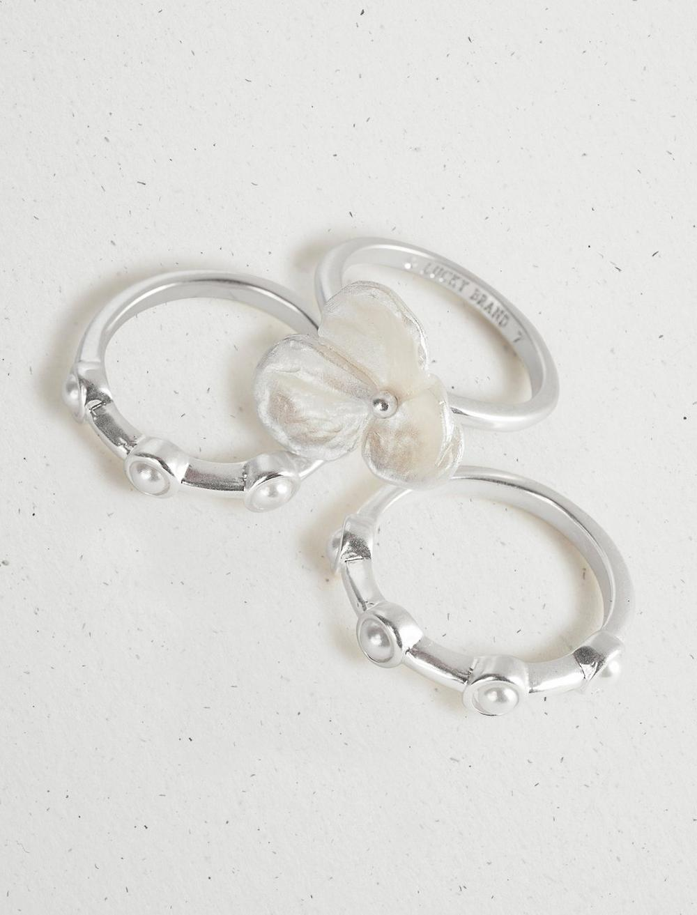 FLORAL PEARL RING STACK, image 1