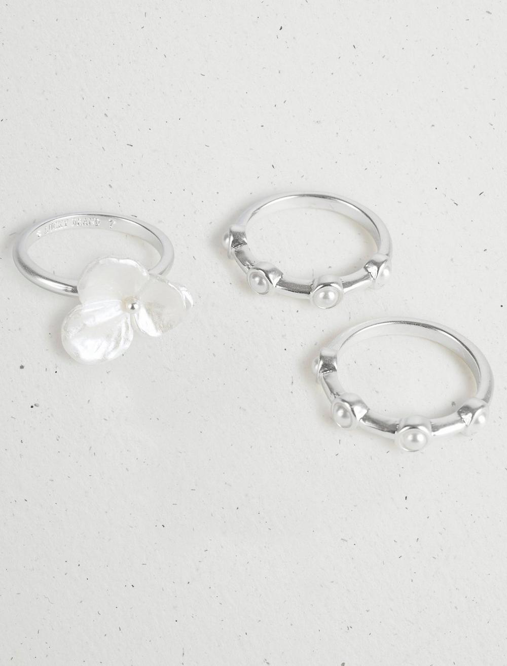 FLORAL PEARL RING STACK, image 2