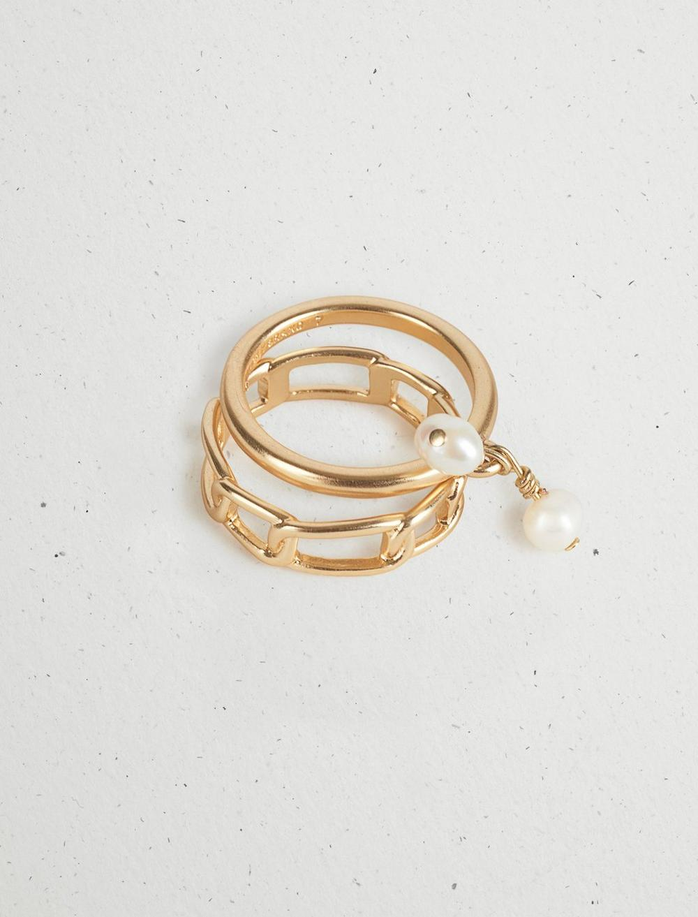 PEARL CHAIN RING STACK, image 1