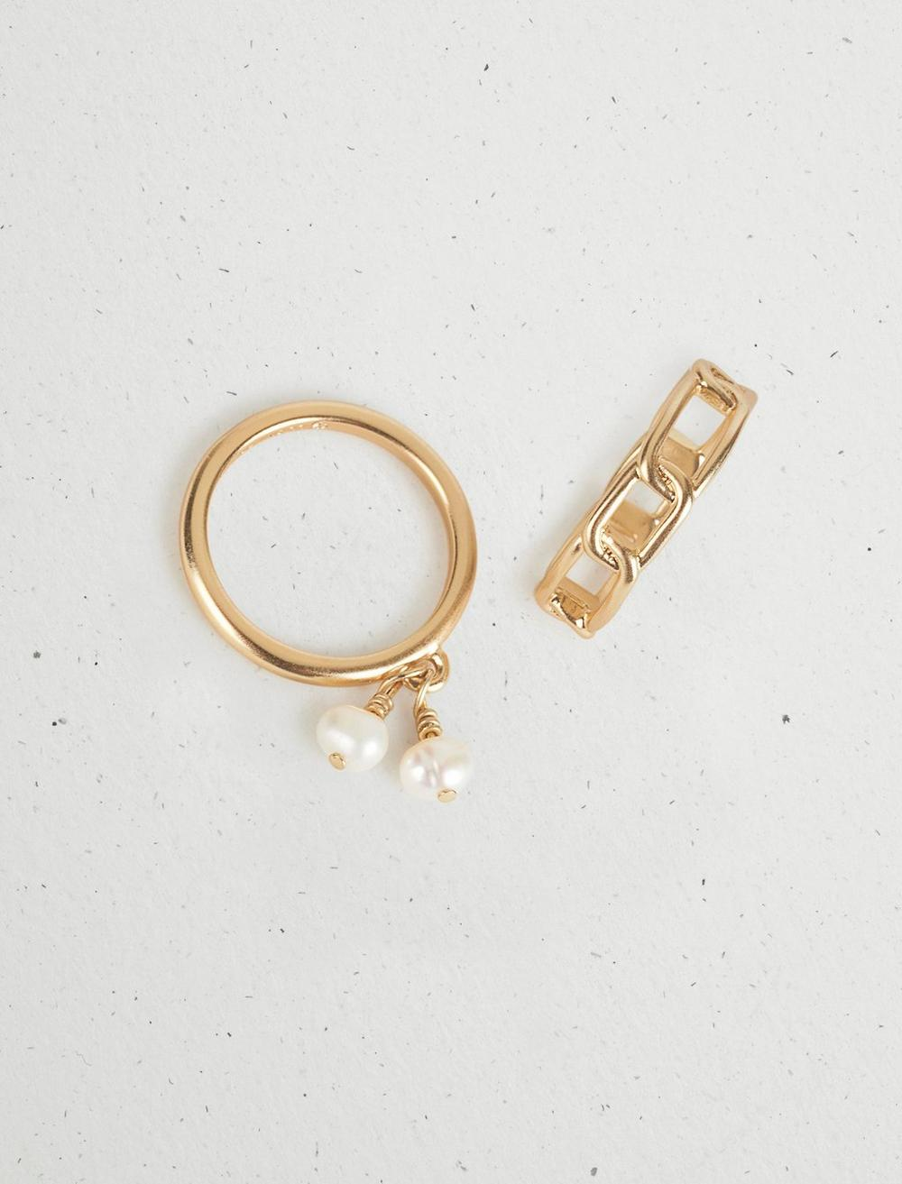 PEARL CHAIN RING STACK, image 2