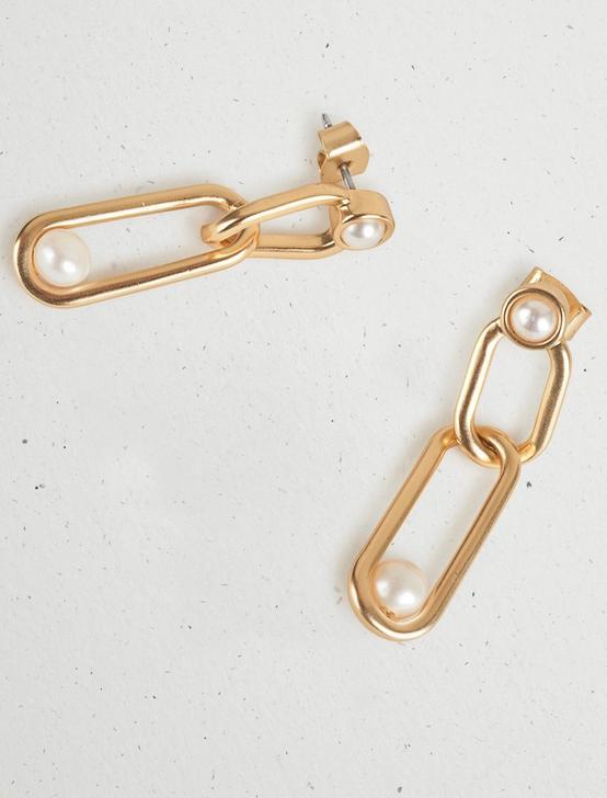 CHAIN PEARL DROP EARRING, GOLD, productTileDesktop