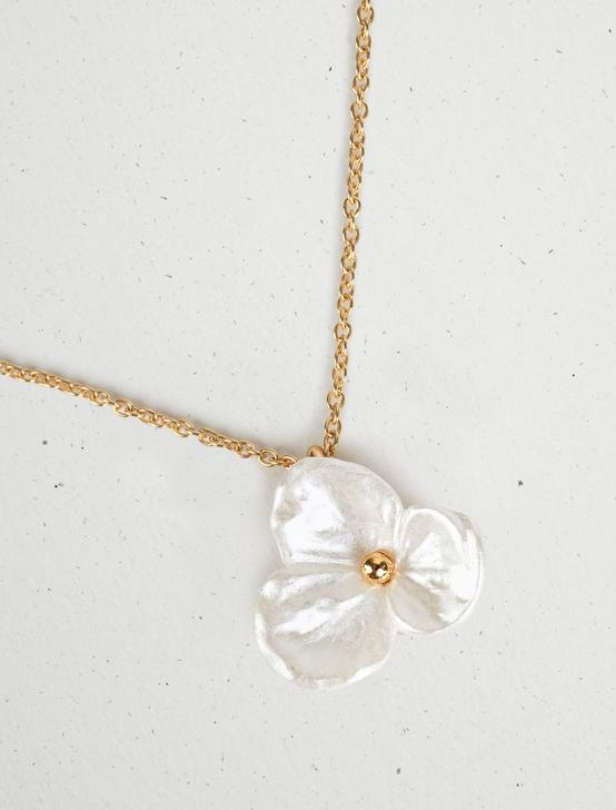 PEARL FLOWER PENDANT NECKLACE, GOLD, productTileDesktop