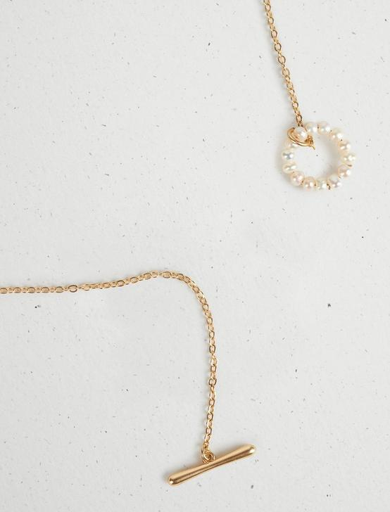 PEARL LOOP Y NECKLACE, GOLD, productTileDesktop