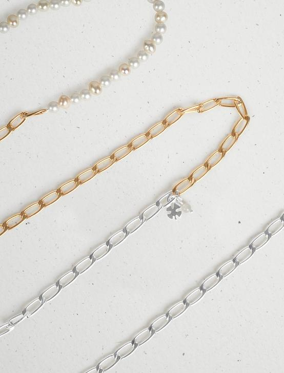 PEARL CHAIN STRAND NECKLACE, TWO TONE, productTileDesktop