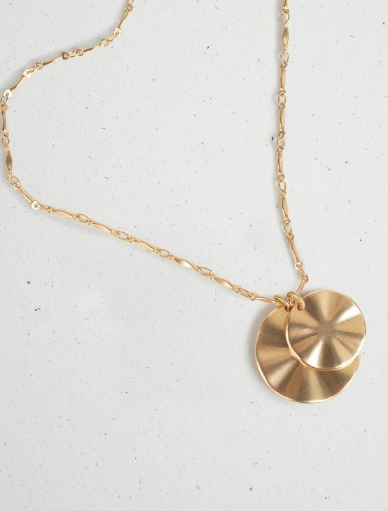 WAVY COIN CHARM PENDANT NECKLACE, GOLD, productTileDesktop