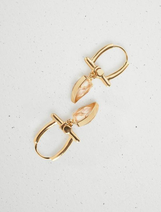 GOLD RUTILATED QUARTZ TUSK EARRING, GOLD, productTileDesktop