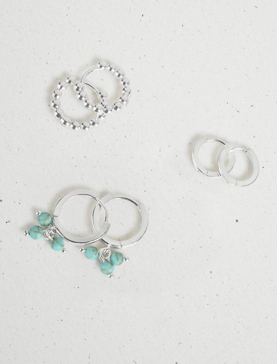 TURQUOISE HUGGIE TRIO EARRING SET, SILVER, productTileDesktop