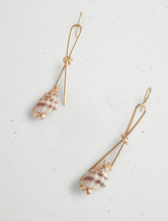 KNOTTED WIRE SHELL EARRING, GOLD, productTileDesktop