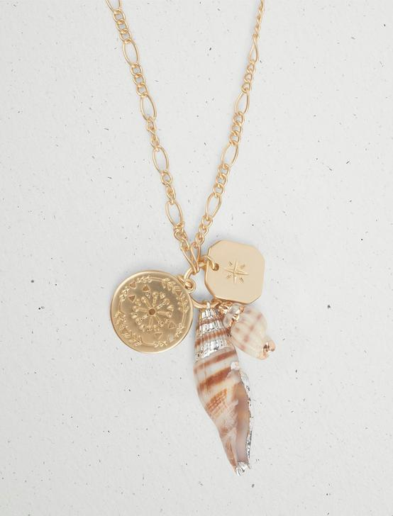 SHELL CHARM PENDNAT NECKLACE, TWO TONE, productTileDesktop