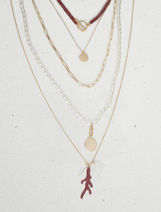 CORAL STATEMENT LAYER NECKLACE, GOLD, productTileDesktop