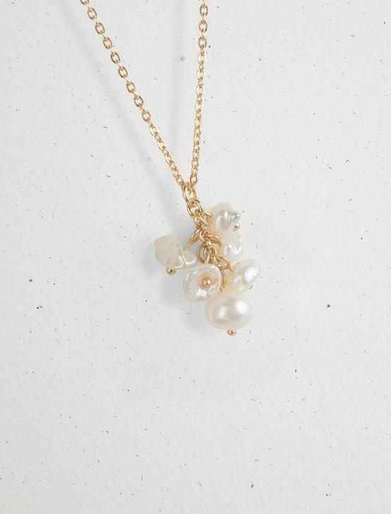 PEARL CLUSTER COLLAR NECKLACE, GOLD, productTileDesktop