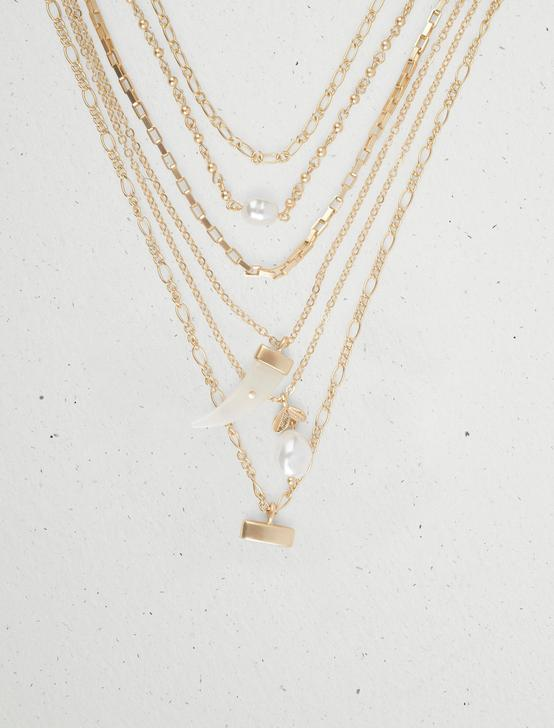INLAY HORN STATEMENT LAYER NECKLACE, GOLD, productTileDesktop