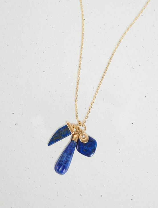 STONE CHARM PENDANT NECKLACE, GOLD, productTileDesktop