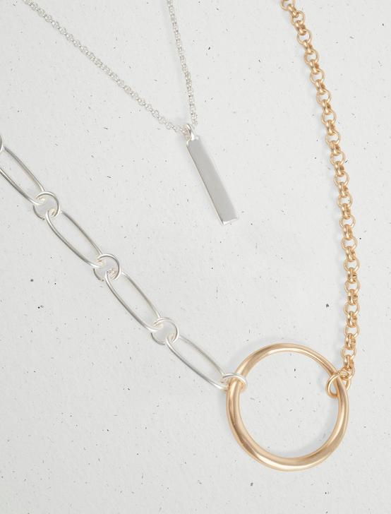 ASYMMETRICAL CHAIN LAYER NECKLACE, TWO TONE, productTileDesktop