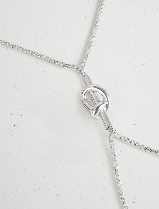 KNOTTED Y NECKLACE, SILVER, productTileDesktop
