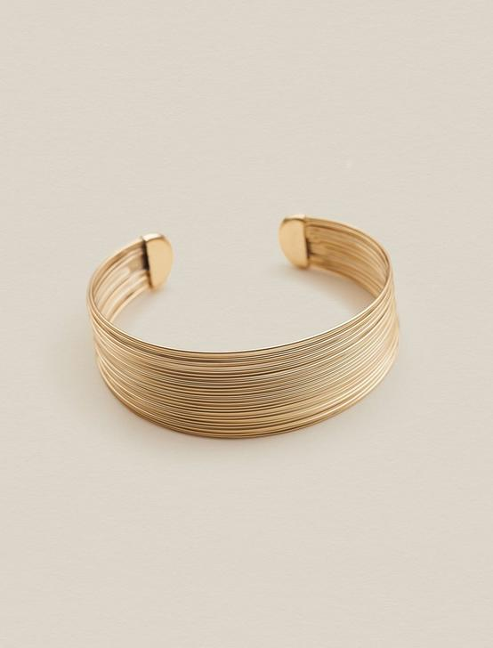 METAL THREAD CUFF, GOLD, productTileDesktop
