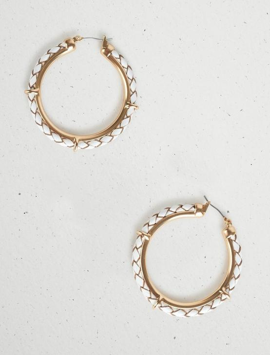 LEATHER ROPE HOOP EARRINGS, GOLD, productTileDesktop