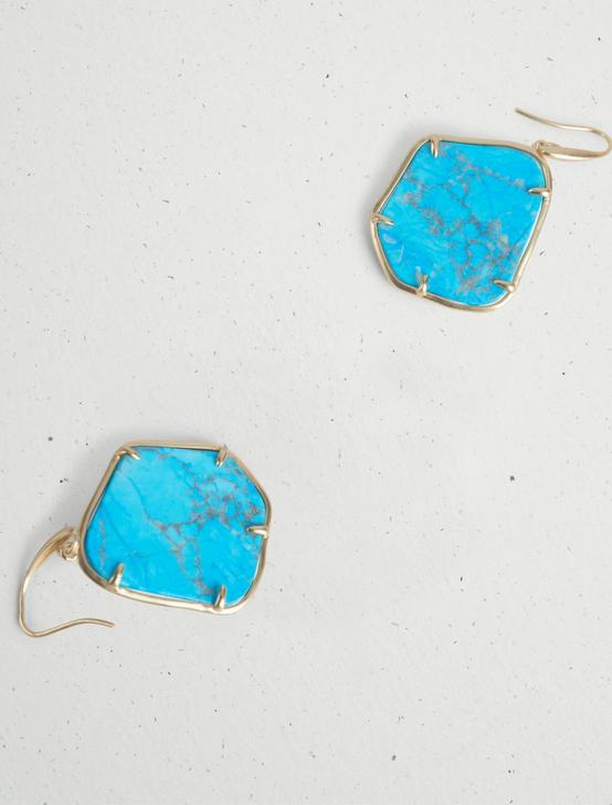TURQUOISE STONE DROP EARRING, GOLD, productTileDesktop