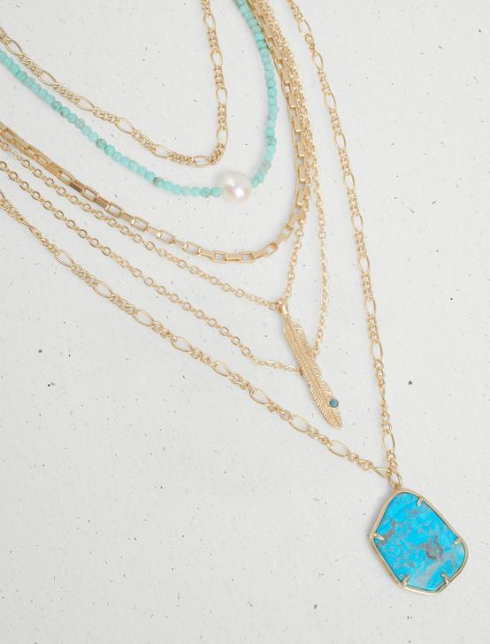 TURQUOISE STONE STATEMENT LAYER NECKLACE, GOLD, productTileDesktop