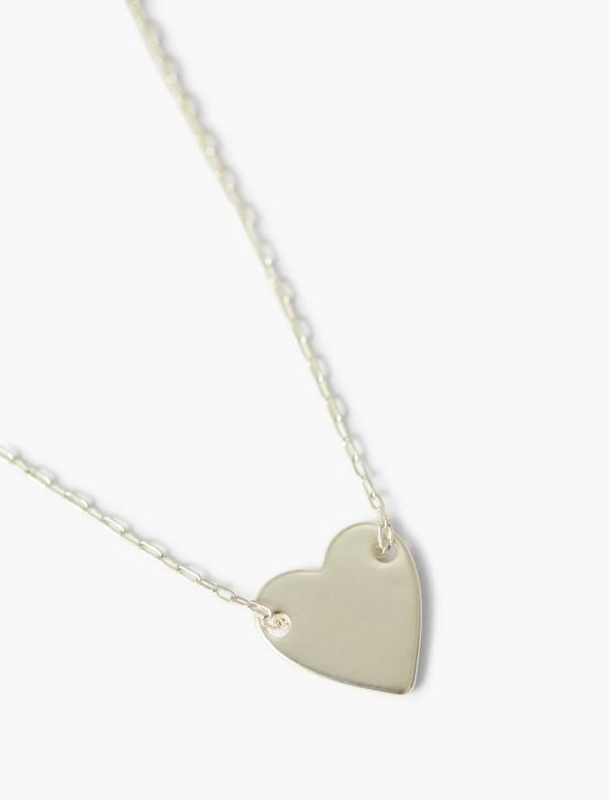 HAMMERED HEART PENDANT NECKLACE, SILVER, productTileDesktop