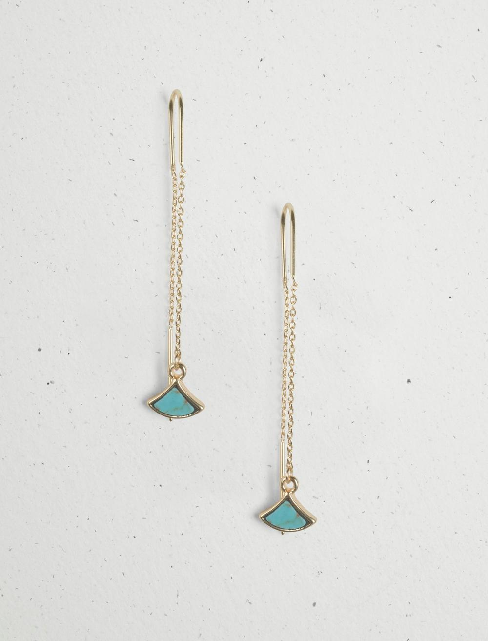 TURQUOISE INLAY THREADER EARRING, image 1