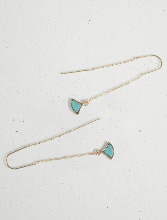 TURQUOISE INLAY THREADER EARRING, GOLD, productTileDesktop