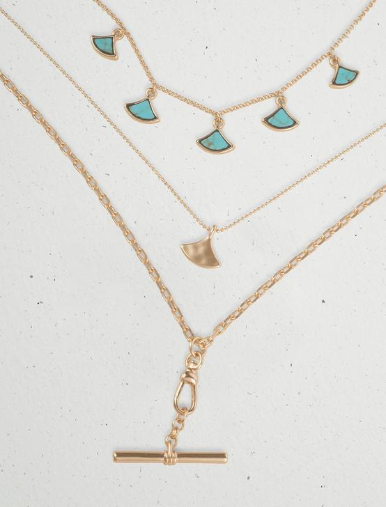 INLAY CHARM LAYER NECKLACE, GOLD, productTileDesktop