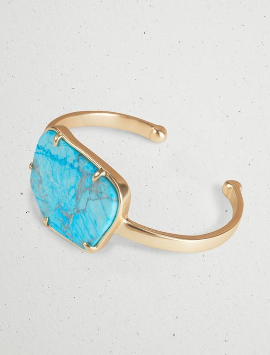 TURQUOISE STONE CUFF, GOLD, productTileDesktop