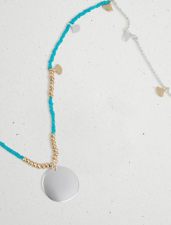 TURQUOISE BEADED DISC NECKLACE, TWO TONE, productTileDesktop