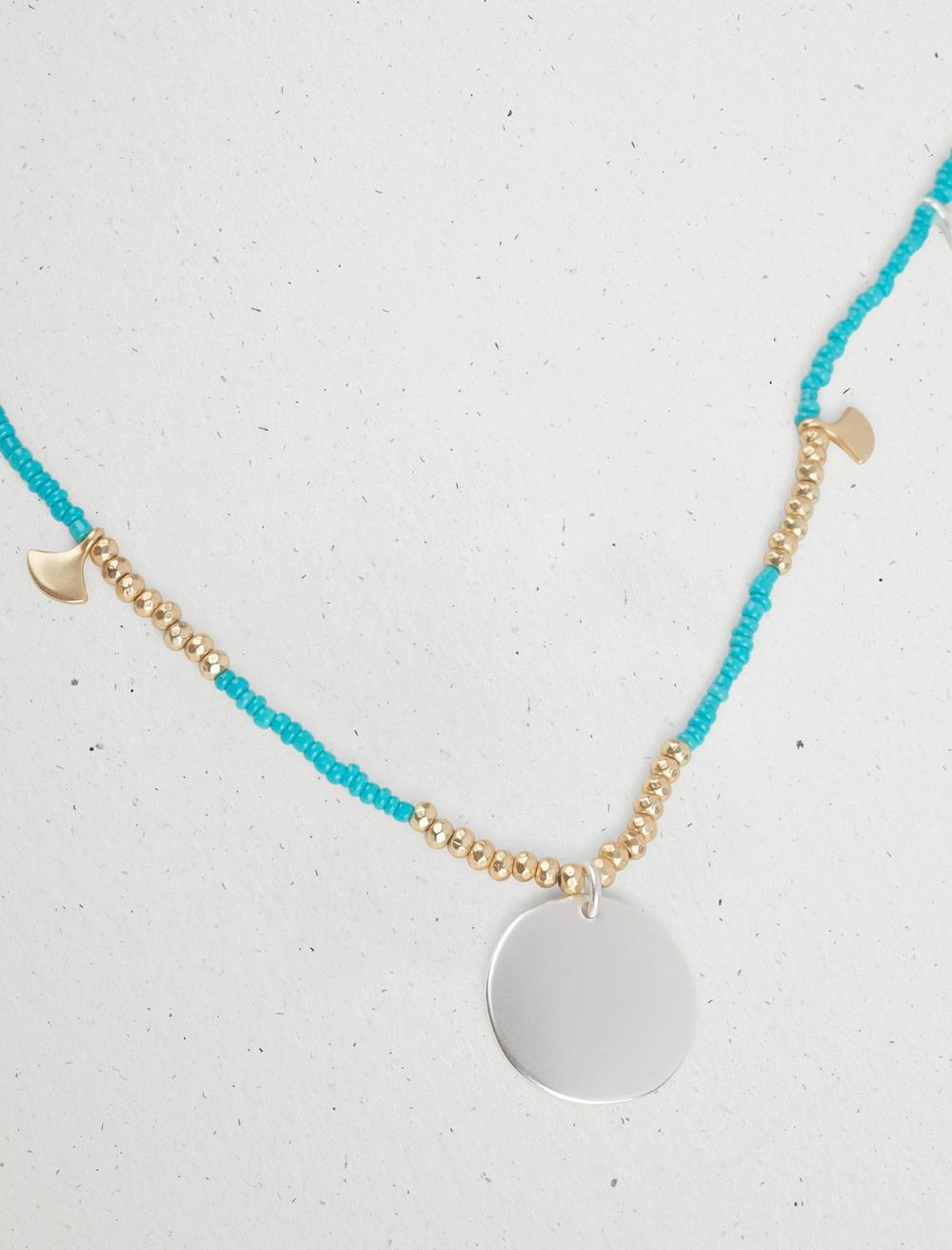 TURQUOISE BEADED DISC NECKLACE, image 3