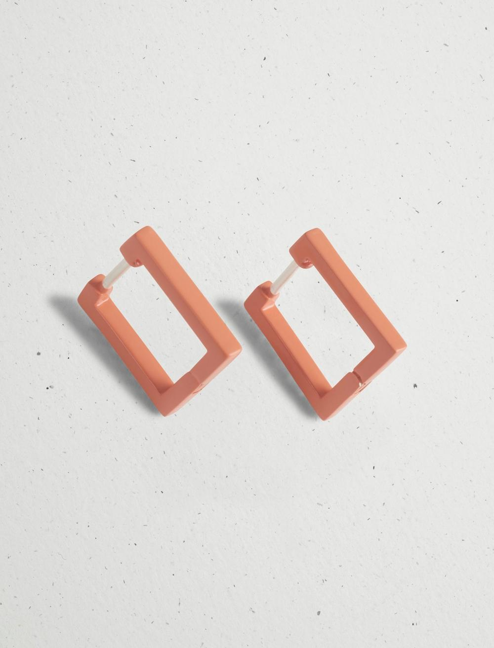 MINI CORAL SQUARE HOOP EARRING, image 2