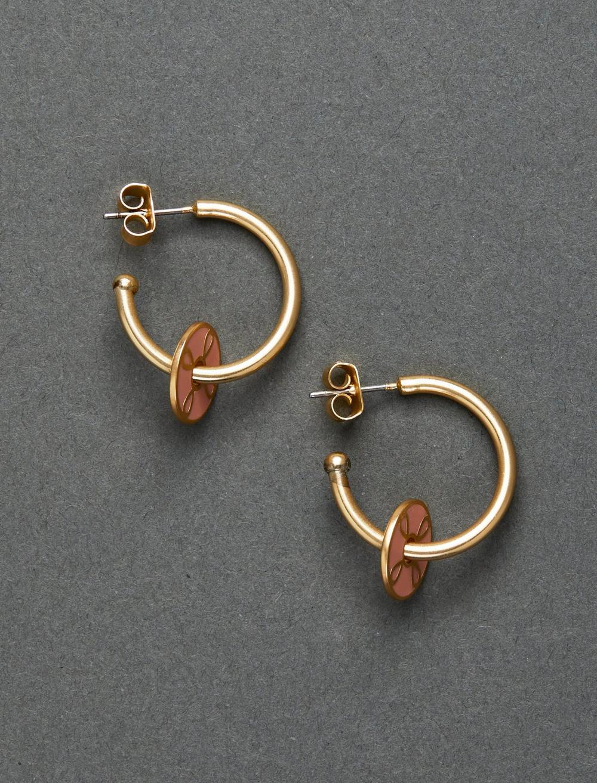 PINK ENAMEL CHARM HOOP EARRING, image 1