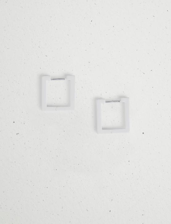 ENAMEL MINI SQUARE HOOP EARRING, SILVER, productTileDesktop