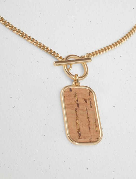 CORK INLAY TOGGLE PENDANT NECKLACE, GOLD, productTileDesktop