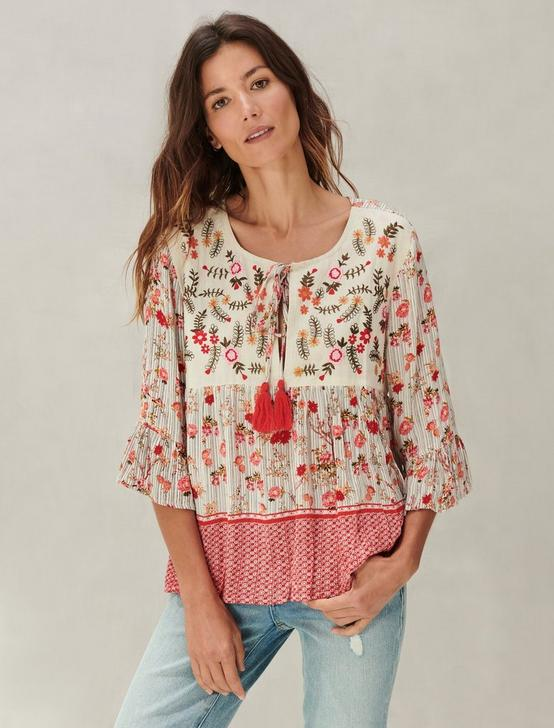 EMBROIDERED BORDER PRINT PEASANT TOP, RED MULTI, productTileDesktop