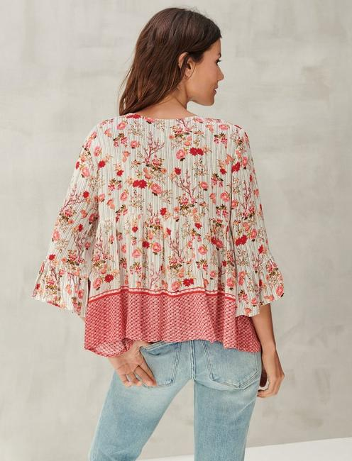 EMBROIDERED BORDER PRINT PEASANT TOP, RED MULTI