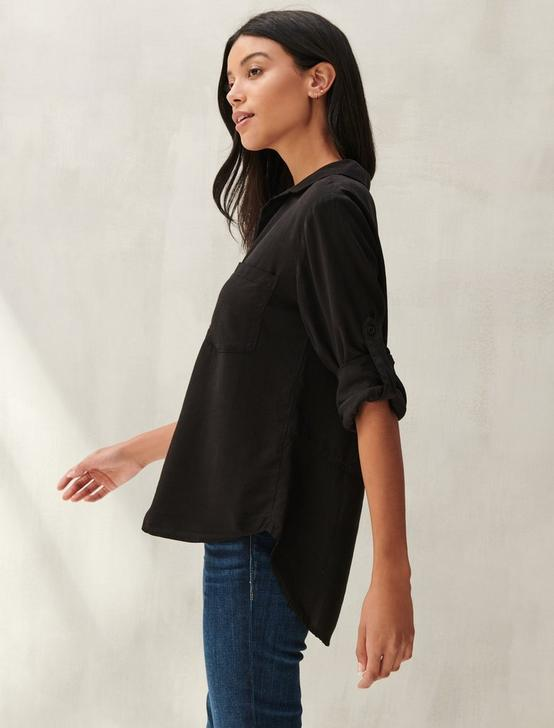 SPLIT BACK BUTTON DOWN SHIRT, 001 LUCKY BLACK, productTileDesktop