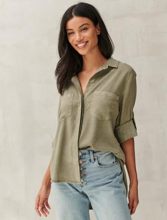 SPLIT BACK BUTTON DOWN SHIRT, OLIVE, productTileDesktop